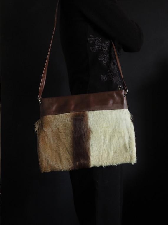 60s Antelope Tote Flat Shoulder Bag Vintage Fur &… - image 1