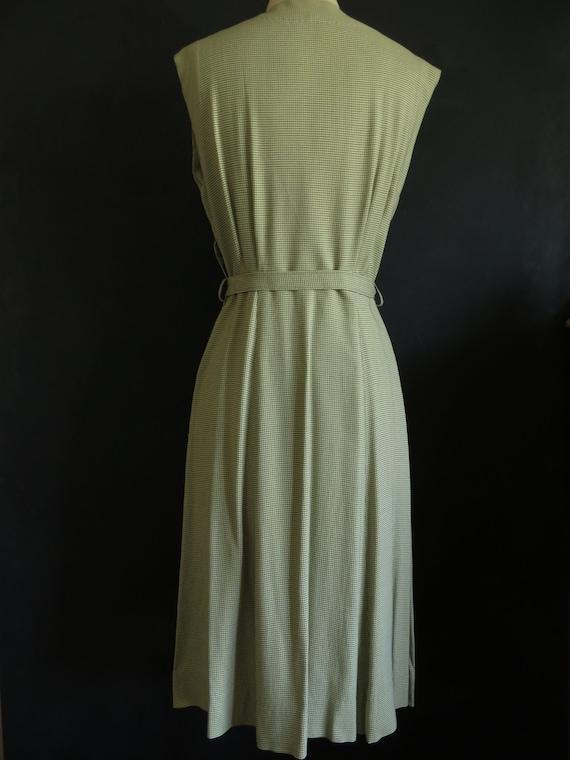 40s Gaberdine Houndstooth Dress Sleeveless Size M… - image 5