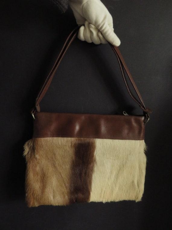 60s Antelope Tote Flat Shoulder Bag Vintage Fur &… - image 7