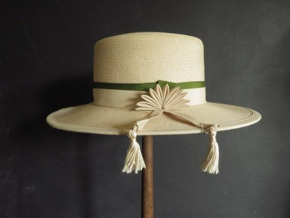 40s Straw Sun Hat Vintage Millinery Designed by Da