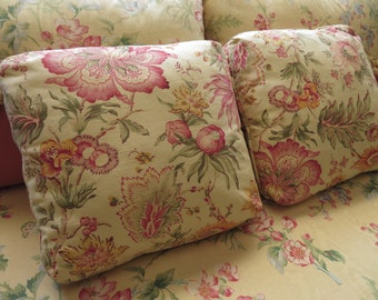 Floral Throw Pillows Yellow & Pink Custom Made Country Cottage Decor Square Decorative Jacobean Pillows Flowers