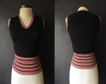 S Missoni Sweater Vest Black w/ Pink Stripes Pullover Made in Italy Petite Size 4