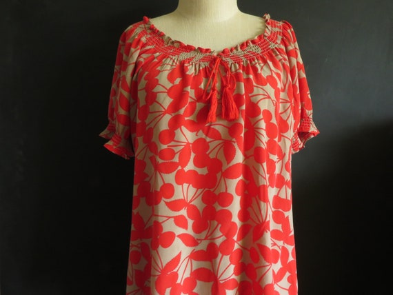 XL Joie Silk Smock Blouse Red/Orange & Ecru Smocke