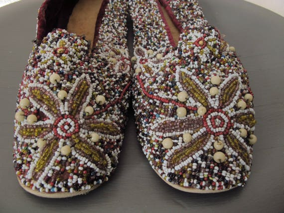 Antique Handmade Beaded Shoes Flats Slippers 1940s