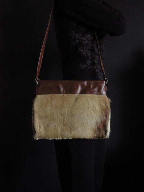 60s Antelope Tote Flat Shoulder Bag Vintage Fur &… - image 3