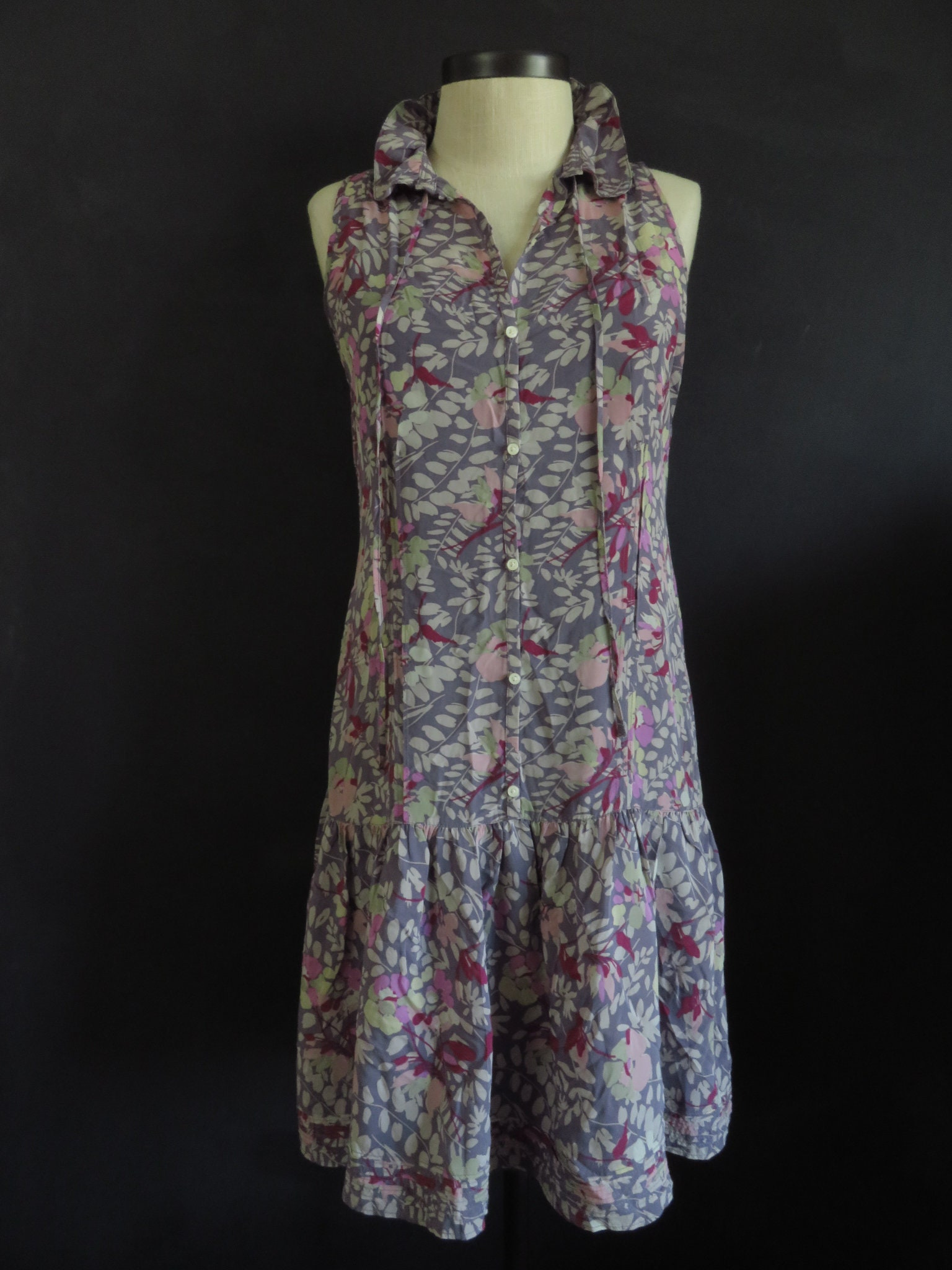 Floral Silk Sundress W Purple Silk Slip 2 Piece Drop Waist Etsy