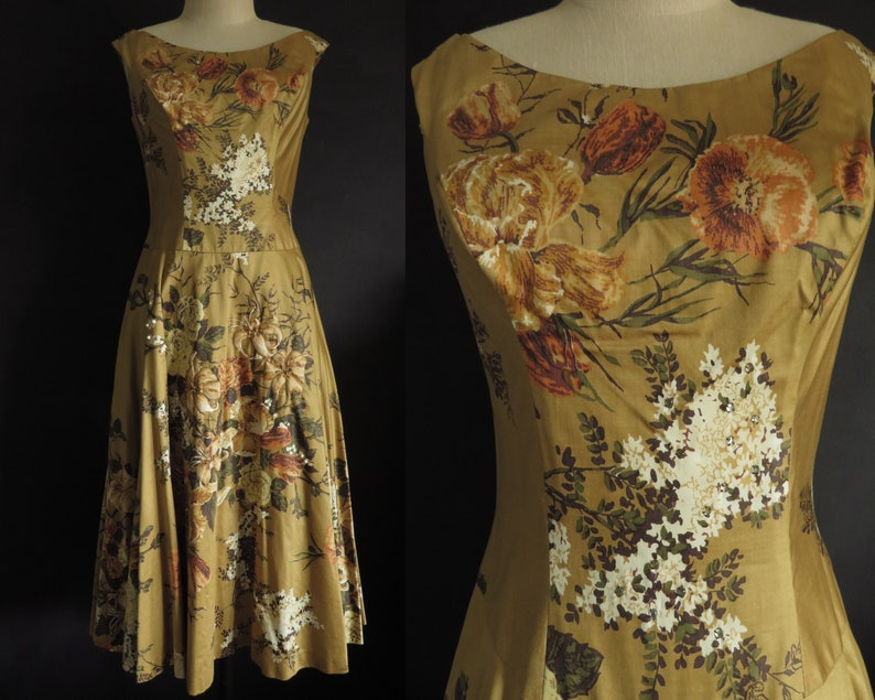 b2ad1c0dfb4 50s Floral Day Dress Deadstock Cotton Chintz Vintage