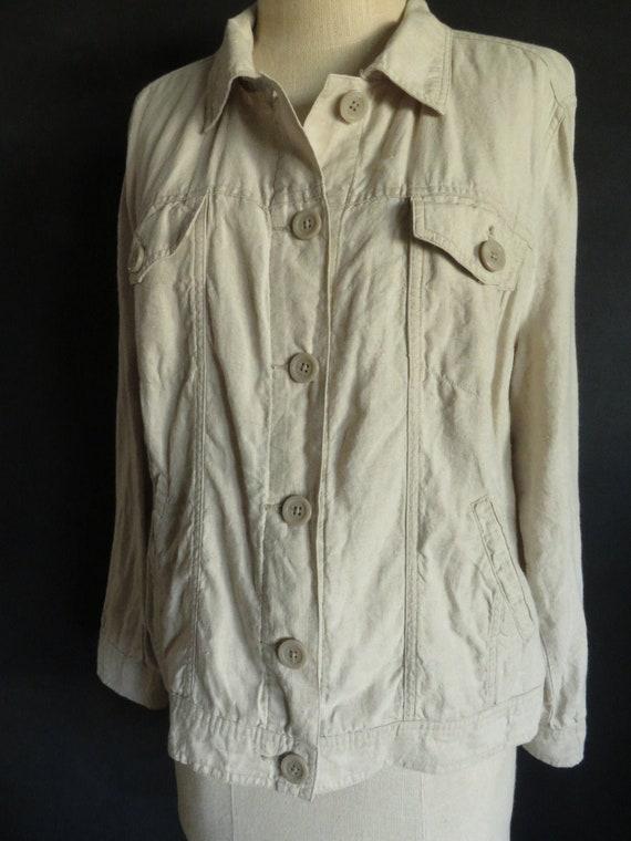 XL Natrual Linen Jacket Jean Jacket Style Linen Ja