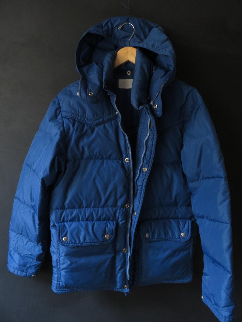 70s Blue Down Jacket Vintage Puffer Jacket Size Large