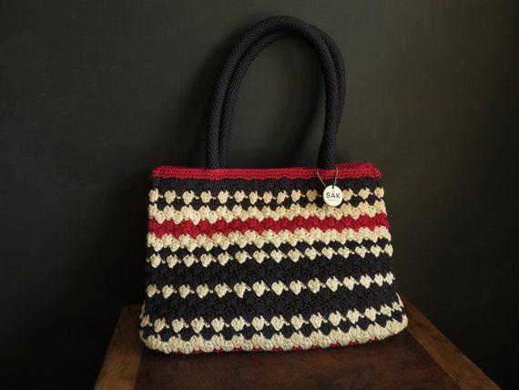 The SAK Crochet Purse Red White & Blue Stripe Croc