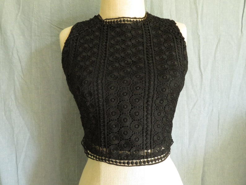 643e69dc8 Black Lace Crop Top Eyelet Midriff Top Size Small