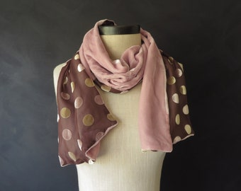 Long Velvet Scarf Pink & Brown Polka Dot Vintage Scarf