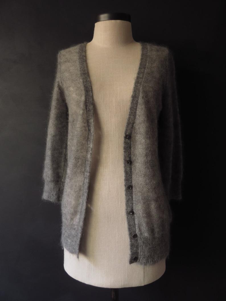 b52bb856769ddb Grey Mohair Cardigan Gray Soft Minimalist Sweater J. Crew Size
