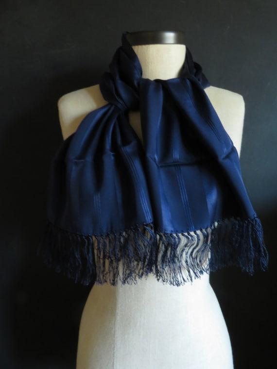 30s Silk Opera Scarf Navy Blue Long Scarf w/ Fring