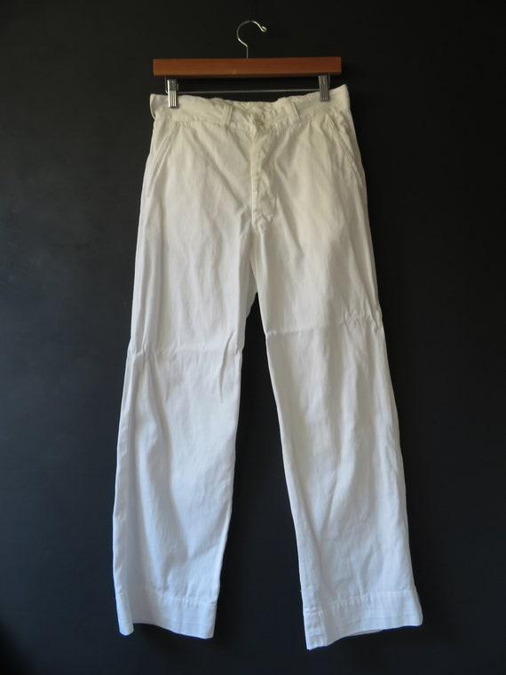 40s White Work Pants Milkman Pants Button-Fly Vint
