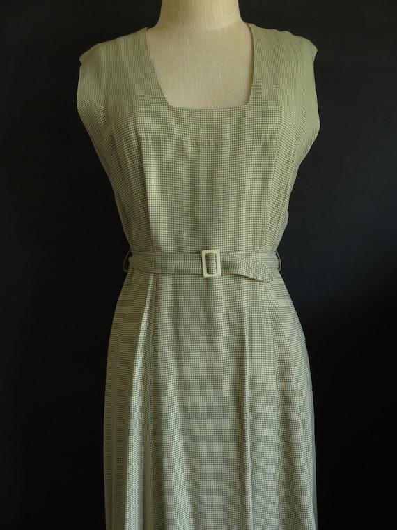 40s Gaberdine Houndstooth Dress Sleeveless Size M… - image 2
