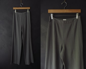 Sz 4 Grey Armani Pants Professional Slacks Wool Minimalist Office Wear Side Zipper Made in Italy Armani Collezioni Size 4
