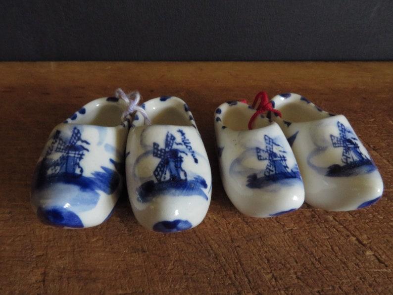 Vintage Delft Clogs Miniature Dutch Clogs Souvenir Holland Hand Painted Porcelain Souvenir Solvang California Danish Village
