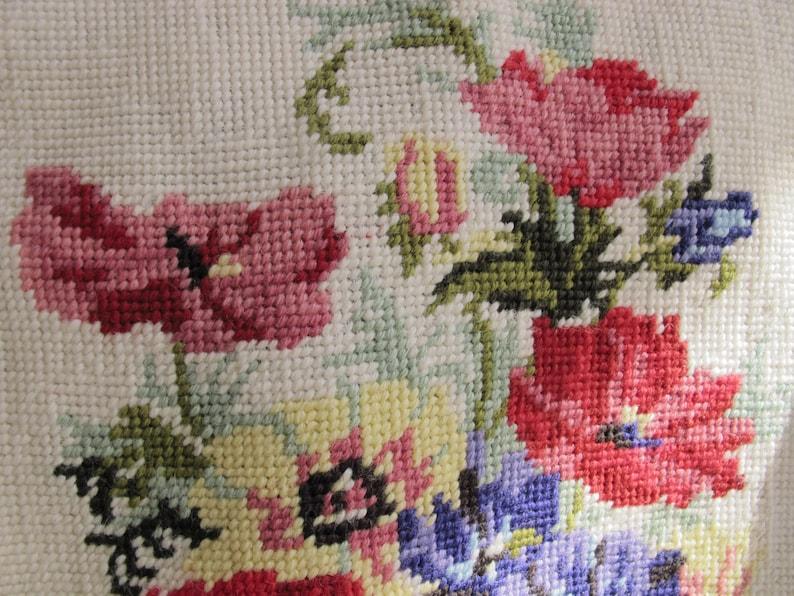 90s Embellished Denim Jacket Patched w Vintage Floral Needlepoint Made In England Faded Denim Button Up Handmade Design Boho Upcycled