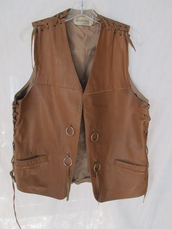 60s Brown Leather Vest Cognac Caramel Saxony Vinta