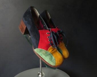 60s Suede patchwork Platform Shoes Lace-Up Color-Block Shoes Vintage Oxfords Size 6M