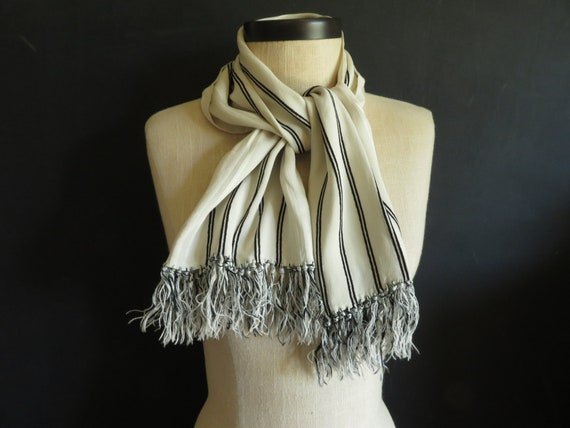 Silk Fringed Opera Scarf White & Black Striped Lon