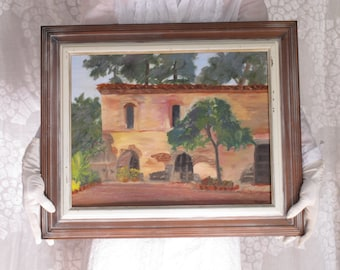 California Mission Oil Painting Wine Country Mid Century Framed Signed Impressionist Oil Painting Adobe Stucco Villa Architecture Painting