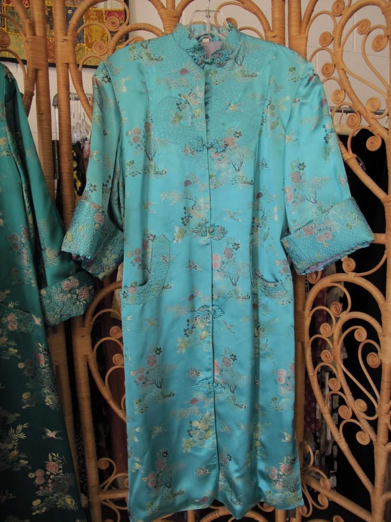 fb2a85263bd3 Vintage Chinese Silk Robe Turquoise Aqua Satin Kimono Robe
