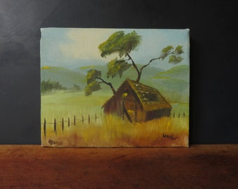 60s Rustic Barn painting Small Oil Painting Farm Ranch Vintage Landscape Original Signed Art