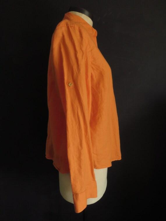 Large Orange Linen Blouse Ralph Lauren Button Fron