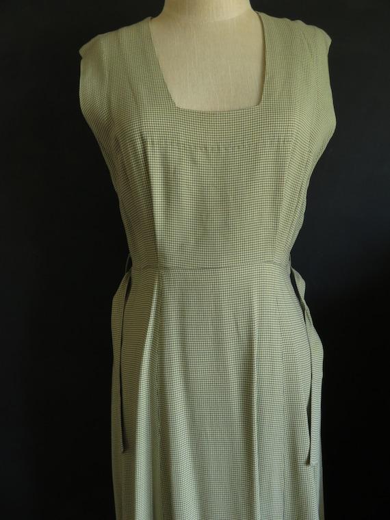 40s Gaberdine Houndstooth Dress Sleeveless Size M… - image 8