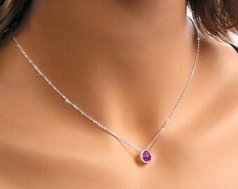 8ba39e389b7a5 Amethyst Purple Crystal Necklace Sterling Silver Swarovski   Etsy