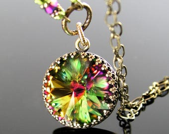 Rainbow Green Crystal Necklace, Swarovski Crystal Green Necklace Antique Brass Gold Necklace Colorful Pendant Necklace Vintage Style Jewelry