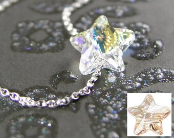 Purple Star Necklace Sterling Silver Chain Wire Wrapped