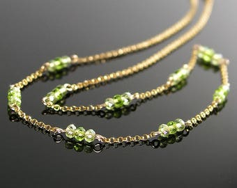 Peridot Green Crystal Necklace, 14K Gold Fill OR Sterling Silver Necklace, Simple Minimalist Peridot Necklace, Chain Green Beaded Necklace