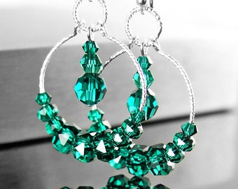 Earrings Sterling Silver with Emerald Green Swarovski Crystals 5XBfHKg