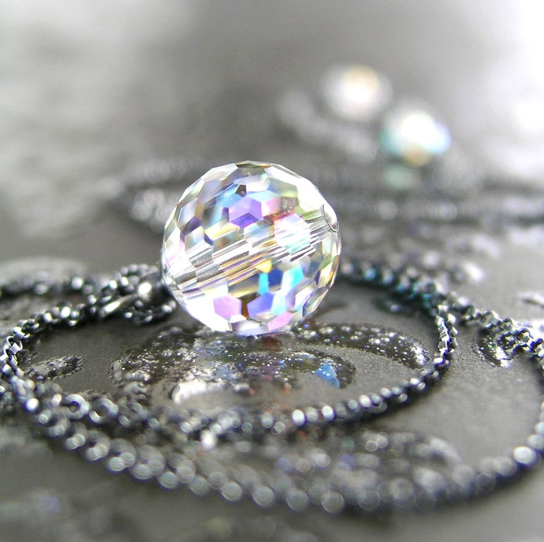 8c5725514 Clear Swarovski Crystal Ball Necklace Sterling Silver Aurora | Etsy