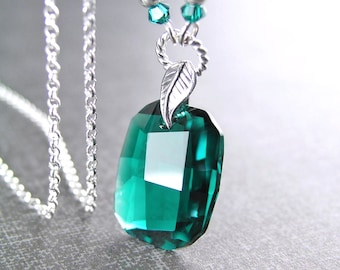 Swarovski Crystal Emerald Necklace, Sterling Silver Necklace, May Birthstone, Emerald Pendant Necklace, Emerald Green Crystal Necklace