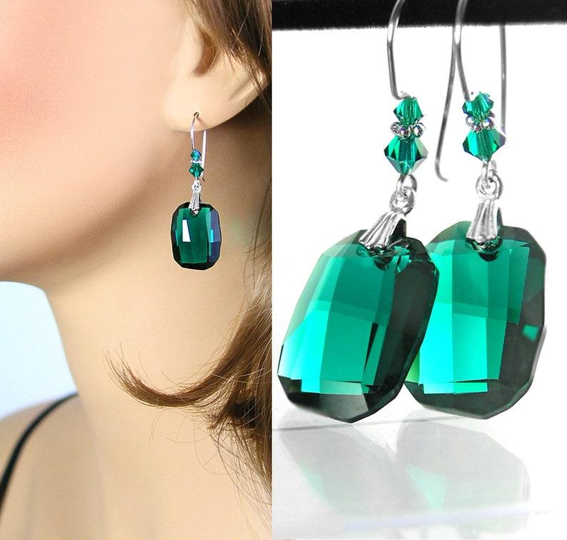 2d8632152 Swarovski Green Crystal Earrings 925 Sterling Silver Emerald | Etsy