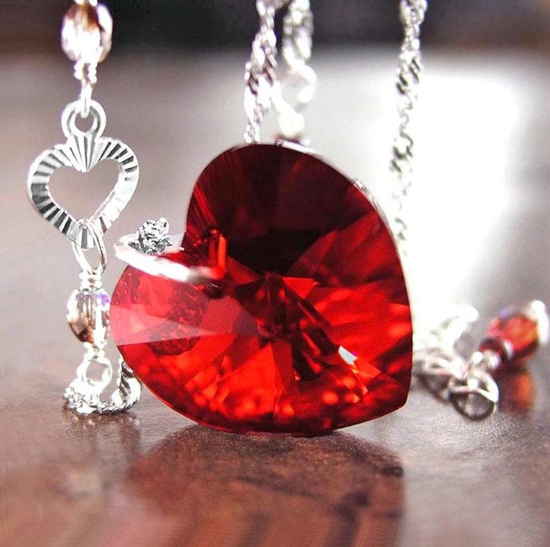 282e2e3c8995b Garnet Red Heart Necklace, Swarovski Ruby Red Crystal Heart Pendant  Necklace, Sterling Silver, January Birthstone, Valentines Jewelry
