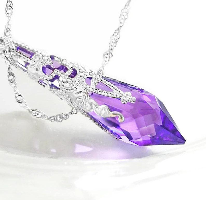7e0504dd84714 Amethyst Purple Crystal Necklace, Sterling Silver, Swarovski Crystal Violet  Purple Amethyst Pendant, February Birthstone Jewelry