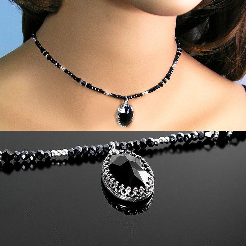 fdd4b6401 Black Crystal Choker Necklace Sterling Silver Jet Black | Etsy