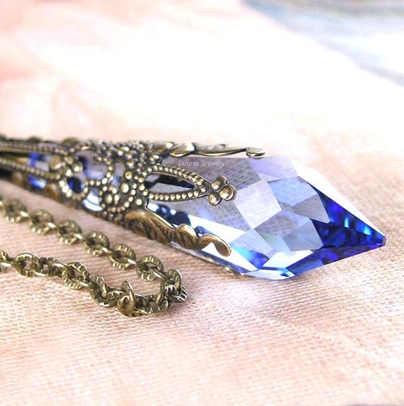 Swarovski Sapphire Necklace Blue Crystal Necklace Sapphire  2ee682503