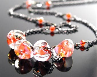 Pink Orange Necklace, Sterling Silver Necklace, Orange Bead Necklace, Dainty Orange Drop Necklace, Silver Chain Modern Artisan Glass Jewelry