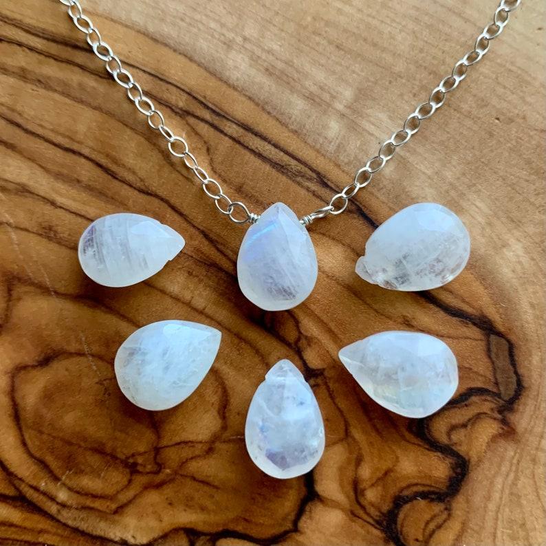 minimalist jewelry simple necklace moonstone jewelry sterling silver gemstone necklace Moonstone Teardrop Dainty Necklace