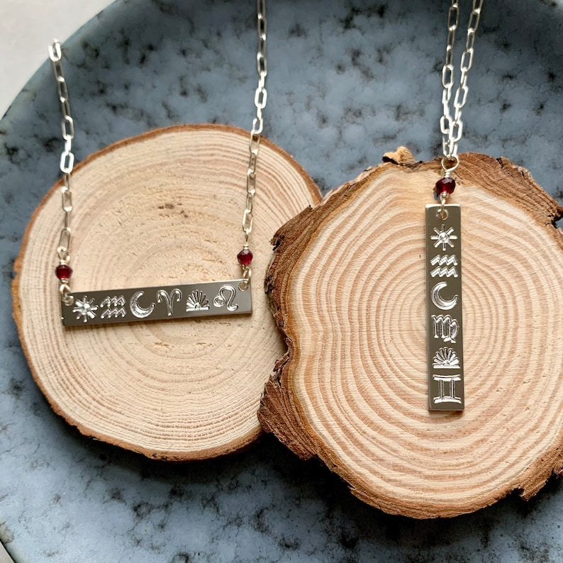 Gemstone Jewelry Zodiac Jewelry Garnet- Custom Astrology Necklace Birth Chart Necklace Bar Necklace Natal Chart- Celestial Jewelry