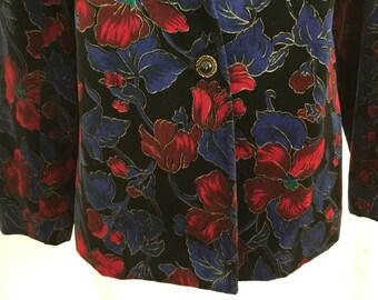 Floral Cotton Velveteen Jacket Blazer Vintage 1980s 1990s by Chic Petites Black Burgandy Blueish-Purple Teal Gold, Lined V-neck Like New M L