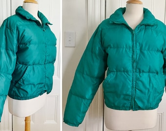 1990s Goose Down Parka Ski Jacket by Black Ice Turquoise Puffer, Puffy Extra Inside Pocket  Zips Womens Small 80/20