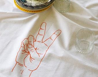 Tea Towel - Tea Towels Flour Sack - Organic Cotton - Kitchen Towels - Dish Towels - Screen Printed Tea Towels - Peace - Flour Sack Towels