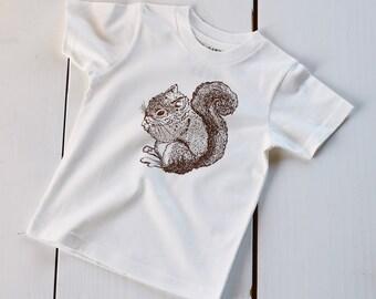 Organic Cotton Toddler Shirt - Screen Printed Kids T Shirt - Squirrel Shirt - Kids Clothes - Cotton Tee